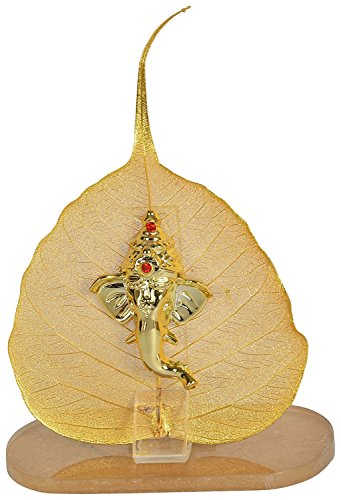 Mivaan Traders Original Pipal Leaf With Gold Plated Ganesh Idol Lord