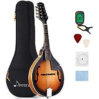 Donner - Mandolina DML-1 Sunburst en caoba con afinador, cuerdas, bolsa y púas de guitarra