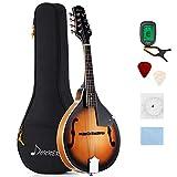 Donner Mandoline Instrument Sunburst Mahagoni DML-1 mit Tuner Saiten Tragetasche und Gitarren Plektren