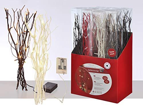 hibuy Weidenzweig mit LED Beleuchtung, 40cm Dekozweig mit 12 LEDs, Batteriebetrieb, Farbe: Braun -