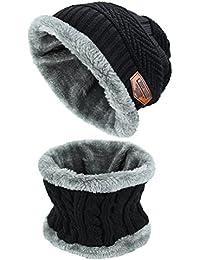 Conjunto De Bufanda Sombrero para Hombre y Mujer de Gorro de Invierno Unisex Sombrero Caliente de Punto Gorra Bufanda con Forro de Lana