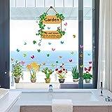RUIPENGPENG Wall Sticker Aufkleber wasserdicht Abnehmbare für Wohnzimmer Kinder Baby Nursery das Licht im Badezimmer aus Glas undurchsichtig Cake Shop vorderen Fenster und der Balkon Schiebetür Windows, Frische Pflanzen