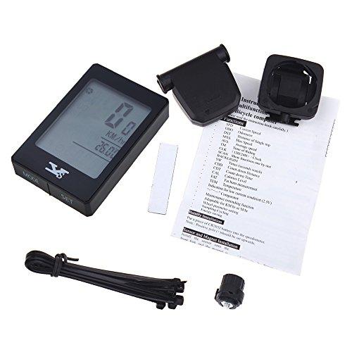 tourwin vitesse sans fil de vélo pour ordinateur odomètre Touch Bouton multifonction avec écran LCD rétroéclairé résistant à l'eau Noir