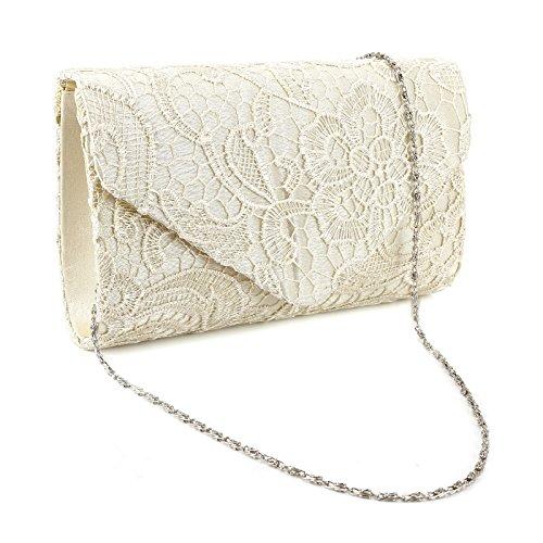 Del-spitze (SurePromise One Stop Solution for Sourcing Spitze Umhängetasche Satin Tasche Damen Abendtasche Kette Handtasche für Party Hochzeit)