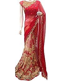Swara Fashion Women's Georgette Thread Work Saree(SFP-199-A_Red, Cream)