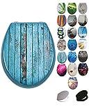 Grafner® MDF WC Sitz mit Absenkautomatik viele schöne Motive zur Auswahl - stabile Qualität - einfache Monatge WC Deckel Klobrille Softcolse (Blue Planks)