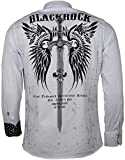Black Rock Herren Langarm Hemd - Freizeithemd - Totenkopf Style - mit Strass Steinen im Print - in schwarz oder weiß (XL, weiß)