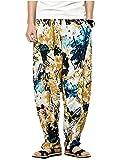 Herren Blumen Drucken Haremshose Aladinhose Lose Hosen In Bequeme Größen Voller Mit Taschen Freizeithose Pumphose Hosen Pants Kleidung (Color : Gelb, Size : 4XL)