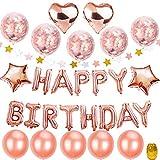 """Geburtstagsdeko Mädchen Rosegold, TopDeko Hen Party Deko mit 16"""" Happy Birthday Banner, 25Pcs 12"""" Ballons und 4Pcs 18"""