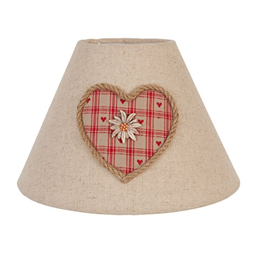 Natürliche Lampenschirme (6LAK0145 Lampenschirm Natürlich Herz Edelweiß ca. Ø 25 x 18 cm)