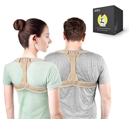 Modetro Sports Geradehalter zur Haltungskorrektur inkl. eBook für eine Gesunde Haltung, ideal zur Therapie für haltungsbedingte Nacken, Rücken und Schulterschmerzen Damen Herren -