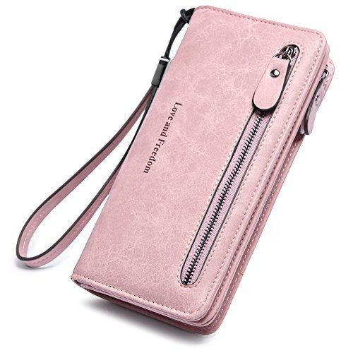 Geldbörse Damen PU Leder Geldbeutel groß Lang Portemonnaie Portmonee mit vielen Kartenfächern Brieftasche Damengeldbeutel Damenbörse Rosa -