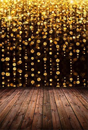 Cassisy 2x3m Vinyl Bokeh Fotohintergrund Abstrakt Gold Hintergrund Perlen Vorhang Holz Planken Fotoleinwand Hintergrund für Fotoshoot Fotostudio Requisiten Party Liebhaber Photo Booth