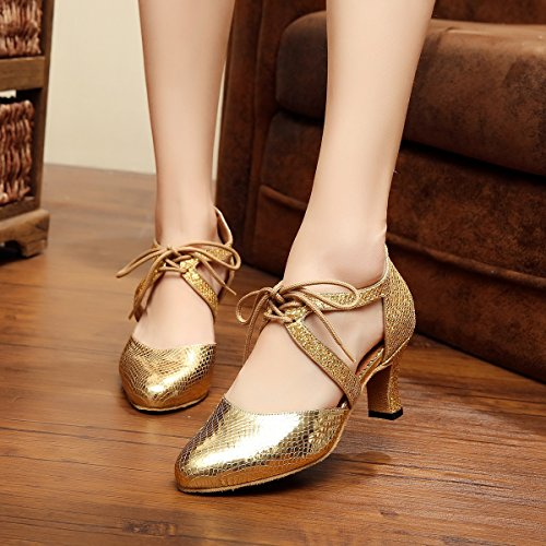 Minitoo qj7047 Donna Lace-up cravatta Sintetico Latina Salsa Tango Dance pompe Gold