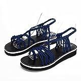 Zapatos Mujer Verano 2019 Sandalias Planas - Talla 34-42 - Casual Bohemia Romanas Chanclas Sandalias de Tejiendo con Cinturón Cruzado para Fiesta Boda Playa de Vestir (43 EU, Azul Oscuro)