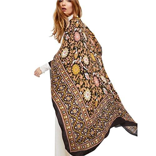FORH Frauen drucken Strand Chiffon lose Schal, Kimono Strickjacke Top Cover Bluse (S, Gelb) (Seide Wickel Chiffon Bluse)