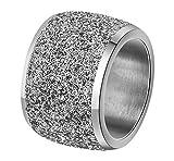 Onefeart Edelstahl Ring für Frauen Mädchen Schrubben Breit Entwurf Hochzeitsband Silber Größe 60 (19.1)