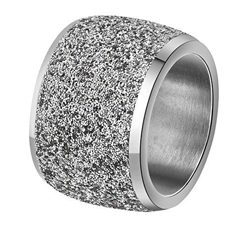 Onefeart Edelstahl Ring für Frauen Mädchen Schrubben Breit Entwurf Hochzeitsband Silber Größe 52 (16.6)