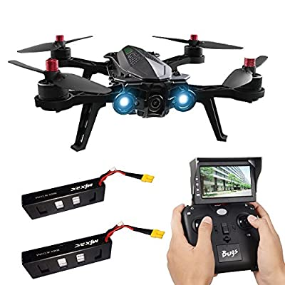 MJX Bugs 6 Racing Drone with Camera Professional Drone with 5.8G FPV Live Image Transmission Screen 2.4GHZ two-way Remote Control D43 5.8G Receiver 4 Channel 6 Axis Gyro RC Quadcopter, 2 batteries
