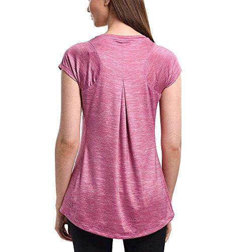Sunny&Baby Magliette da donna girocollo manica corta / manica lunga da yoga per donna Confortevole ( Color : Light Blue , Size : M ) Rosy Mauve