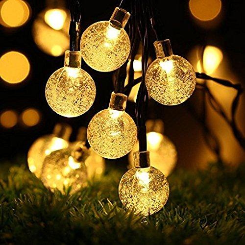 BlueFire 6M 30 LEDS Solar Lichterkette, LED Kugel 2 Modi Außenlichterkette, Wasserdicht Weihnachtsbeleuchtung Beleuchtung für Garten, Party, Weihnachten, Außen, Hausdekoration (Warmweiß)