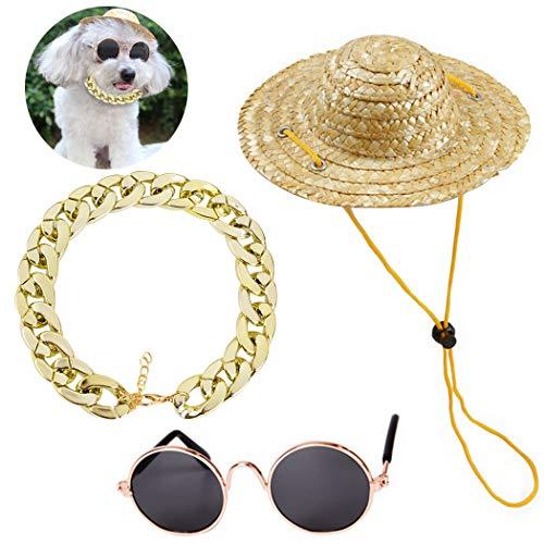 Legendog Haustier-Sonnenbrille-Art- und Weisemetallkatzen-Sonnenbrille-Haustier-Gläser mit Halskette und Hut