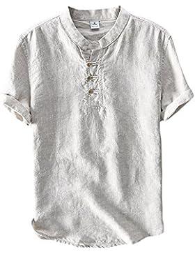 Icegrey Camicia Uomo Camicie di Lino a Maniche Corte Henley Shirt Top Pullover Estive Camicia