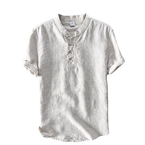 Icegrey Herren Kurzarm Leinen Hemd Henley Kurzarm Hemd T-Shirt Freizeit Hemden Sommer Hemd Grau