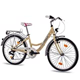"24"" Zoll ALU CITY BIKE JUGENDRAD MÄDCHENFAHRRAD CHRISSON RELAXIA mit 7 Gang SHIMANO StVZO ivory coast"