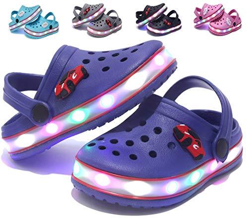 Kinder Jungen Mädchen LED Clogs Süße leichte Sommer Hausschuhe Garden Beach Sandalen Blue 30 EU