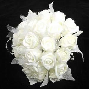 Avorio Luccicante Schiuma Rosa Con Organza E Perla Anelli legato a mano Mazzo Delle Spose