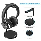 New Bee Headphone Stand Headset Stand Sturdy Metal Stand Desk Studio Headphone Holder Mount Aluminum Hanger Universal Headset Display Earphone Rest for All Headphone Size - Black