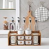 SSBY Famiglia Ceramica Condimento Box Vetro Petrolio Erba Bacchette Tubo Combinazione Completo Cucina Aroma D'Erba Aceto Bottiglia Doppio Strato Condimento Box D