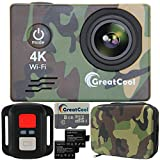 GreatCool Action Cam 4K Wifi Sensor Sony Waterproof Camera Fotocamera Telecamere 25fps Hd Telecomando Wireless 2 Pollici LCD due 1050mAh Batterie e Kit Accessori con Pacchetto Portatile
