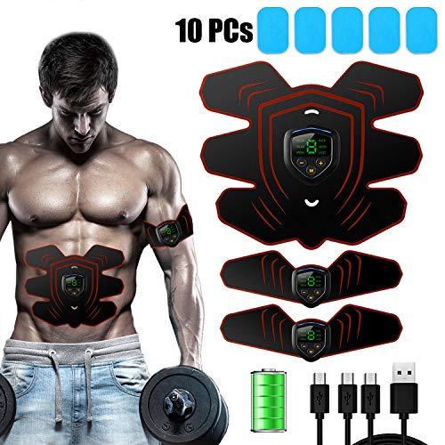 zociko Electroestimulador Muscular Abdominales Cinturón, Entrenador Muscular con USB, EMS Estimulador Muscular Abdominales EMS Estimulador Músculo Tóner, LCD ABS Masajeador Eléctrico