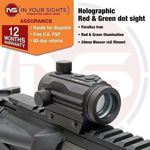 SUS MONUMENTOS HOLOGRÁFICOS rojo y verde Visor de punto / Micro M1 AIRSOFT Rifle Vista Adecuado Para 20mm Rieles