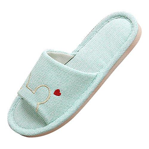 Eastlion Frauen und Mädchen Home Floor Soft Indoor Anti-Rutsch Flachs Streifen Bogen Hausschuhe Schuhe Hell-Pink