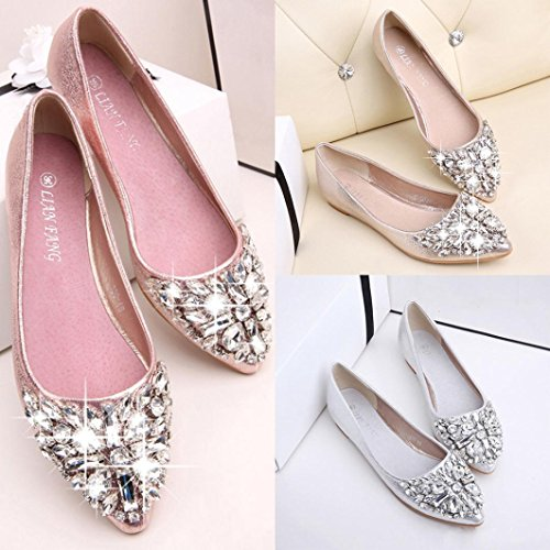 SOMESUN Women's Low Heel Flat Shoes, Signore Della Punta Aguzza Delle Donne Scarpe Casual Strass Tacco Basso Scarpe Piane Pink