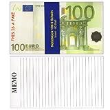 2 x Notizblöcke im 100 Euro Design - je Block 80 Blatt - Grösse 18,5 cm x 10,5 cm