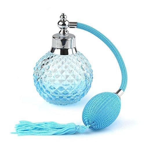 Pixnor Flaschen de Parfum 100ml mit Zerstäuber Kristall Vintage Verdampfer wiederaufladbar blau - Kristall Parfüm Duft Flasche