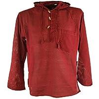 Guru-Shop, Nepal Shirt, Goa Hippie Sweatshirt, Burgundy, Cotton, Size:M, Shirts & Tops