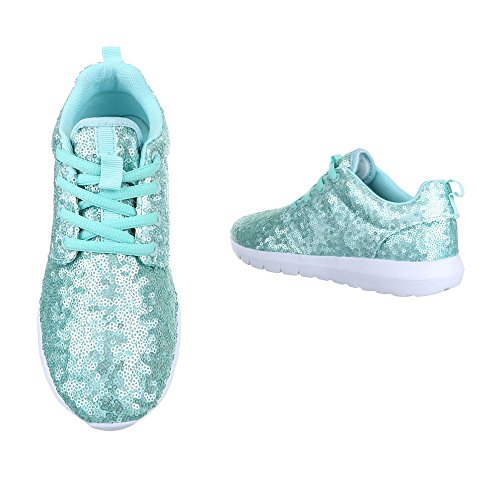 Ital-Design Low-Top Sneaker Damenschuhe Low-Top Sneakers Schnürsenkel Freizeitschuhe Hellblau 50-H61007E