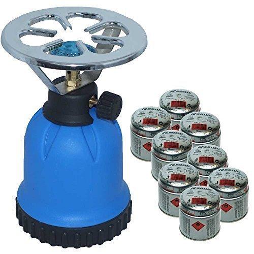 Rsonic Gaskocher C190 Blau + 8x Butane cartridge (je 190g) • Blue Portable mini Camping kocher mit 8 Butane Gaskartuschen• Campingkocher ideal zum Kochen Essen oder Wasser aufwärmen oder für Shisha Naturkohlen geeignet