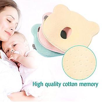 Babykissen Kopfform Babykopfkissen Baby-kissen Gegen Verformung Und Plattkopf Des Hinterkopfes Aus Memory Foam Orthopädisches Kissen (Pink) 1