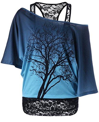 Ghope Damen Spitze Transluzent Top Schulterfrei Fledermaus Kurzarm Zweiteilig T-shirt Oberteile Sommertop Blau 3