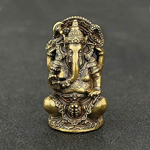QWERWEFR Mini Vintage Latón Ganesha Estatua Bolsillo