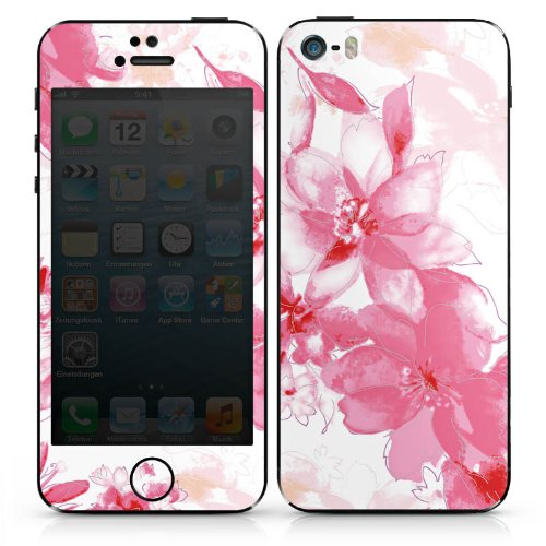 Apple iPhone 5s Case Skin Sticker aus Vinyl-Folie Aufkleber Blüte Zeichnung Blätter DesignSkins® glänzend