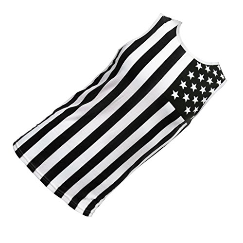 MagiDeal herren hiphop USA NATIONAL FLAGGE TANK TOP AMERIKANISCHES SLEEVELESS TEE - Schwarz, XL (Tee Amerikanischer)