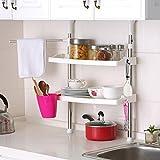 Mobile per la cucina regolabile con 2ripiani portaoggetti, mensola per barattoli di vetro ST-07 Chrome/White