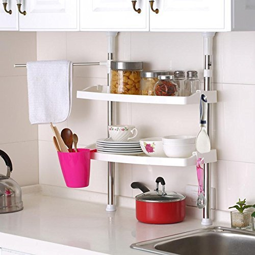 Loud-thinkers ® telescopico cromato con plastica ripiani kitchen storage rack 60 – 07 cm